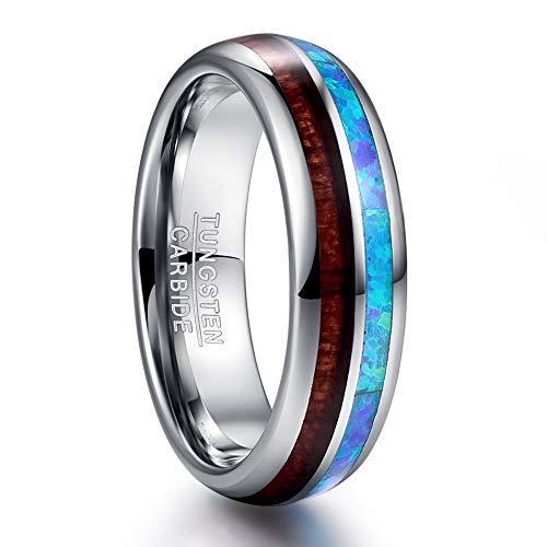 NUNCAD Wolfram Ring Silber 6mm für Männer Frauen Jugendliche mit Opal Blau + Koa Holz für Fashion Alltag Hochzeit Urlaub Geburtstag Größe 52(16.6)