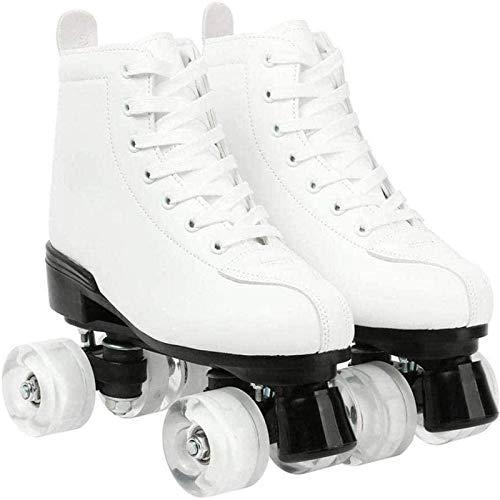 Xbshmw Rollschuhe PU Leder, glänzende Allrad Rollschuhe, Unisex für Erwachsene Kinder mit Tasche,White Wheel,44