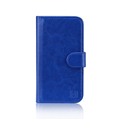 32nd PU Leder Mappen Hülle Flip Hülle Cover für Motorola Moto E4 Plus, Ledertasche hüllen mit Magnetverschluss & Kartensteckplatz - Blau