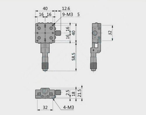 40mm X-Axis Displacement Platform Linear Bearing CNC Cross Rail Manual Stage