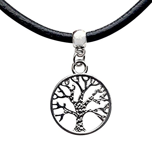 Live It Style It Tree of Life Leather Choker Charm Necklace Vintage Hippy Retro Black Cord