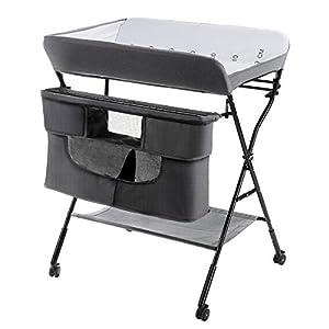 COSTWAY Cambiador de Pañales Plegable con Ruedas y Espacio de Almacenamiento Cambiador para Bebé Altura Ajustable Carga hasta 11kg