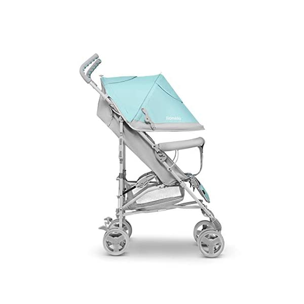 Lionelo Elia Buggy Small Folding Pushchair Buggy up to 15 kg Back and Footrest Adjustment Rear Wheel Brake Mosquito Net Leg Warmer Rain Cover Shopping Basket Lionelo Safe and handy. The Elia pushchair has a simple folding system. Does not need much space after folding. Folding the buggy takes only a few seconds, with a carry handle and the weight of only 7 kg, ideal for travel, on the train or in the car boot. Features: Complete set with mosquito net, leg warmer and rain cover, spacious storage basket, back and footrest adjustment, handle height at 105 cm. Swivel lock and rear brake. On the rear axle there is a comfortable and quick to use brake that is operated with one foot. The front wheel has a swivel lock that helpfully holds a steady course on uneven terrain. 4