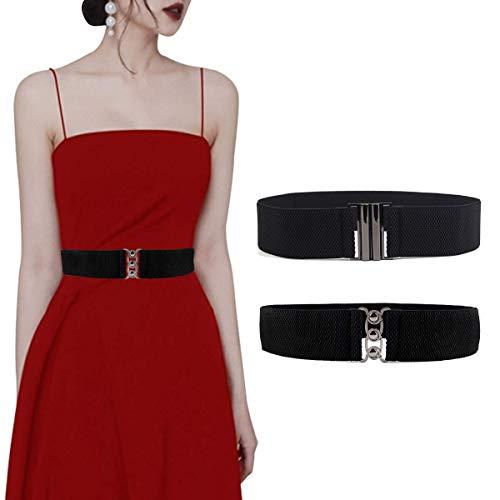 Lalafancy 2 Stück elastischen Flach Schnalle Gürtel Damen Taillengürtel Mode Bund Kleid (Schwarz & Schwarz, XL)