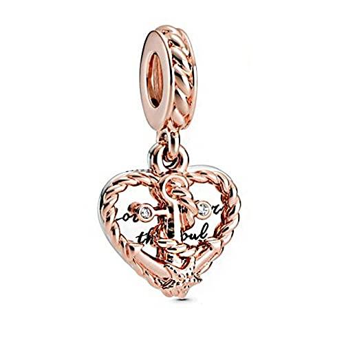 LIIHVYI Pandora Charms para Mujeres Cuentas Plata De Ley 925 Ancla De Amor De Corazón De Cuerda Cuelga Joyería De Bricolaje Compatible con Pulseras Europeos Collars