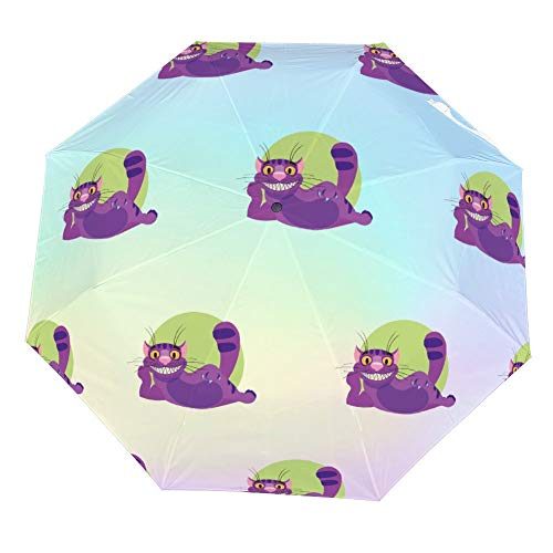 SARA NELL Cheshire Cat To The Fairy Tale Alices Adventures Umbrellas Reverse Folding Umbrella Windproof UV Protection Umbrella Inside Out Upside Down for Car Rain Outdoor with C-Shaped Handle