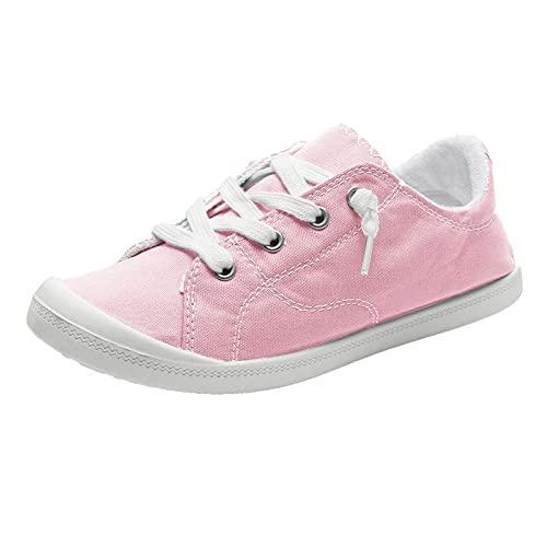 URIBAKY - Zapatillas de lona para mujer, estilo bohemio, suave, zapatos planos y transpirables, suaves y cómodos, para exteriores, fitness, senderismo, rosa, 41 EU