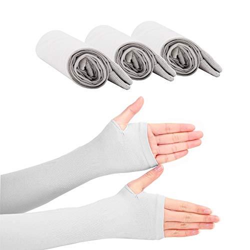 CHRISLZ Long Arms Sleeves Guantes UVProteccion Solar Fundas para la Mano Fingerless Elastic Stretch Brazo Guantes para Actividades al Aire Libre Enfriamiento Covers (Grey-3)
