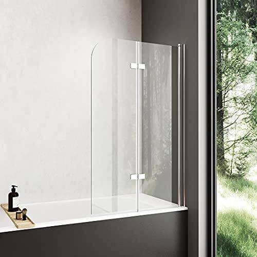 Meykoers Duschwand Badewannenaufsatz 100x140cm Faltwand für Badewanne, Duschabtrennung faltbar aus 6mm ESG Sicherheitsglas Nano Beschichtet