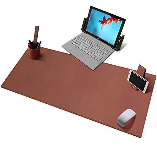 Alfombrilla multifuncional para escritorio de oficina, 39.3 x 15.7 pulgadas, grande, de piel sintética, impermeable, con soporte para bolígrafo y teléfono (marrón)