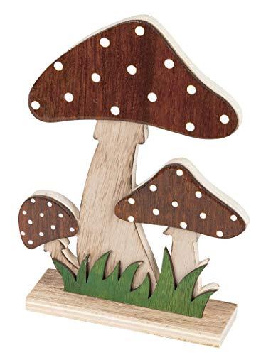 dekojohnson Deko Pilz-Figur aus Mango-Holz Herbstdeko-Figur zum Stellen Garten-Figur und Innendeko rot 18cm Fliegenpilz Miniaturpilz