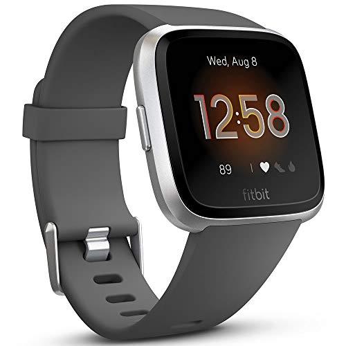 Fitbit Versa Lite Smartwatch, Charcoal/silver Aluminum, One Size