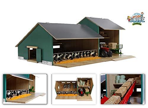 Van Manen Kids Globe Farming Establo para Vacas con Taller, de Madera, Escala 1:32, con...