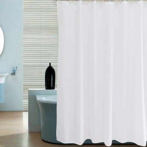 NIUTA Shower Liner, Standard Shower Curtain Liner Fabric 72 x 72 inch Full Size, Hotel Quality, Washable, Waterproof, White Bathroom Curtains with Grommets, 72x72 inch