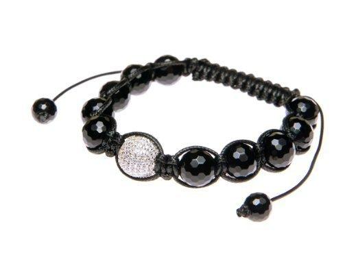 Andante-Stones bracciale SHAMBALA di ottima qualità dimensione regolabile 16-22 cm color nero decorato con perlina Pavé in argento 925 e zircone CZ + sacchetto di organza
