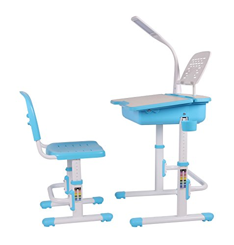 Leomark Smart Escritorio con Silla Regulable para Niños, con Cajón y Lámpara Led, Altura Regulable, Color Azul