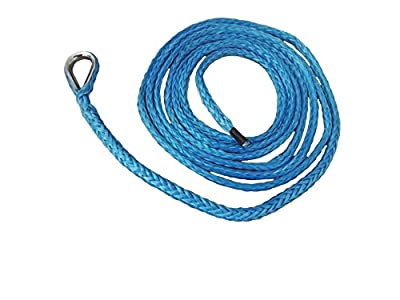 """QIQU 1/4"""" 10ft ATV Snow Plow Lift Rope,Synthetic Winch Rope,Boat Winch Cable,Snow Plow Attachments (Blue)"""