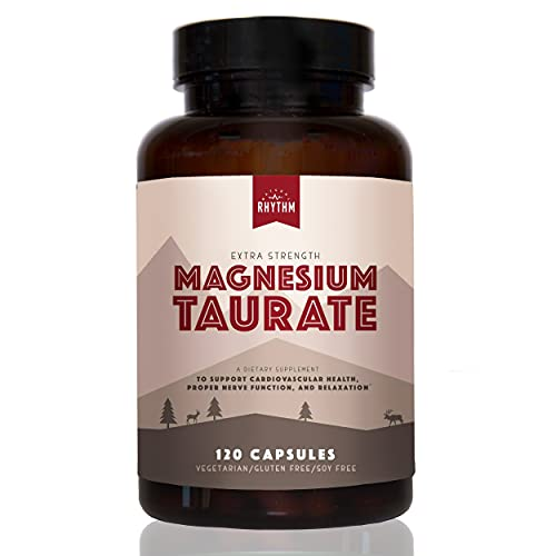 Magnesium Taurate - 150mg of Elemental Magnesium Taurate for Heart, Stress, Anxiety, Restless Leg, Sleep Support (180 Capsules) Made in The USA by Natural Rhythm.