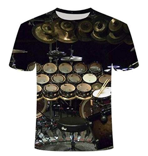 PINGDAGUO T-Shirt Nuovo Set di grancasse Stampate in 3D Divertente T-Shirt Neutra Strumento Musicale T-Shirt da Uomo Manica Corta, TX135,4XL
