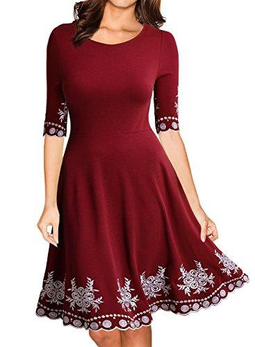 MIUSOL Damen Abendklei Sommer Kurz Vintage Rockabilly Kleid Cocktail Ballkleid Rot XL