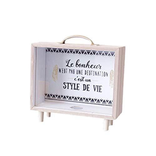 LMJ Caja pequeña Banco de Dinero, Hucha de Madera Creatividad Hucha Transparente, Ornamentos únicos de Regalo Banco Banco (Color : A)
