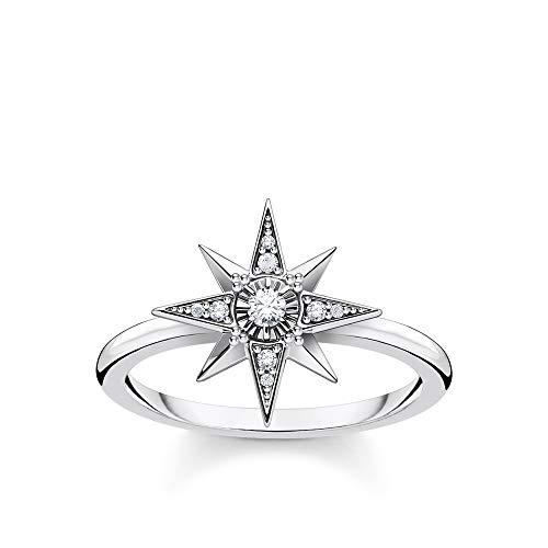 Thomas Sabo TR2299-643-14 - Anillo para Mujer (Plata de Ley 925, ennegrecido), diseño de Estrella