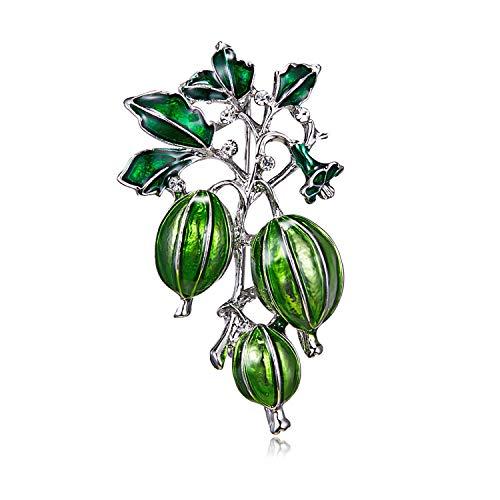 FMY Broches de esmalte verde aceitunas mujeres y hombres aleación planta broche Pins niña sombrero bolsa