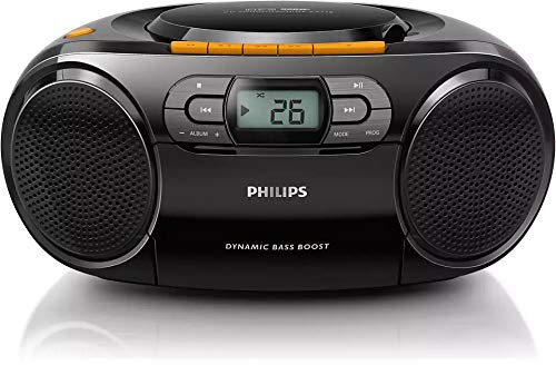 Philips AZ328 Stereo CD Cassette Player, Portable Boombox, USB, FM, MP3, Tape, Black