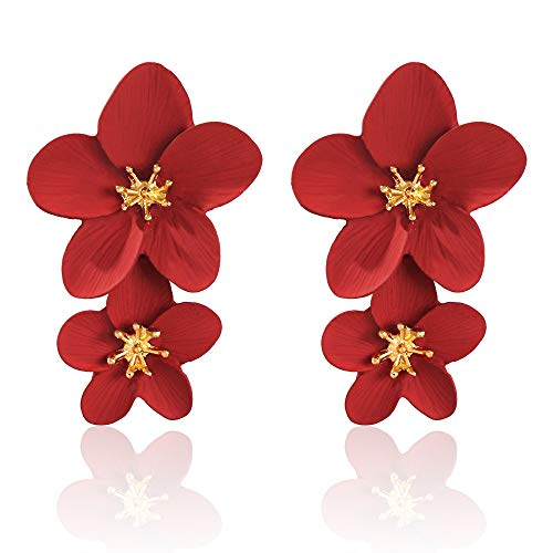 Large Flower Earrings for Women - Metal Flower Earrings, Chic Flower Statement Earrings, Great for Party, Wedding, Shopping, Dating (red flower earrings)