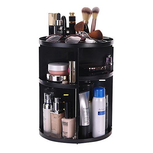 ATPWONZ Maquillaje Organizador de 360 Grados Rotatorio Bandeja de cosméticos Caja de Almacenamiento Multifuncional 8 Capas para Maquillaje y Accesorios (Negro)
