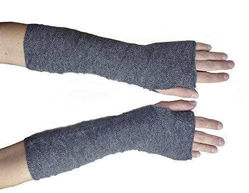 Posh Gear Damen Alpaka Handstulpen aus 100% Alpakawolle, dunkel grau