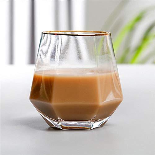 Creatieve geometrie glazen mok gouden rand transparant wijnglas metselwerk koffiemok melk thee kopje home bar drinkservies paar geschenken stijl 3