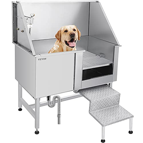 VEVOR 50 Inch Dog Grooming Tub,Professional Stainless Steel Pet Dog Bath Tub,with Steps Faucet & Accessories Dog Washing Station(Right-Door)