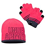 Under Armour Girls' Beanie & Glove Combo Pack, Penta Pink (975)/White, One Size Fits All