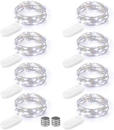 LED Lichterkette Batterie 8er 2M 20 LED Innen Micro Silber Kaltweiss Batteriebetriebene Lichterkette für Weihnachten, Hochzeit, Party, Schlafzimmer, Tisch Dekoration (Kommen mit 8 Stück Batterien)