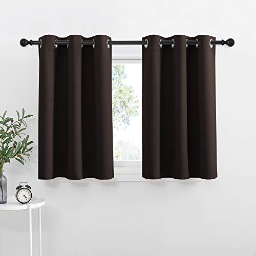 NICETOWN Kitchen Blackout Window Treatments Curtains - Eyelet Top Home Fashion Blackout Curtains Tailored Panels (Double Panels, W42 x L36 inches + 1.2 inches Header, Toffee Brown)