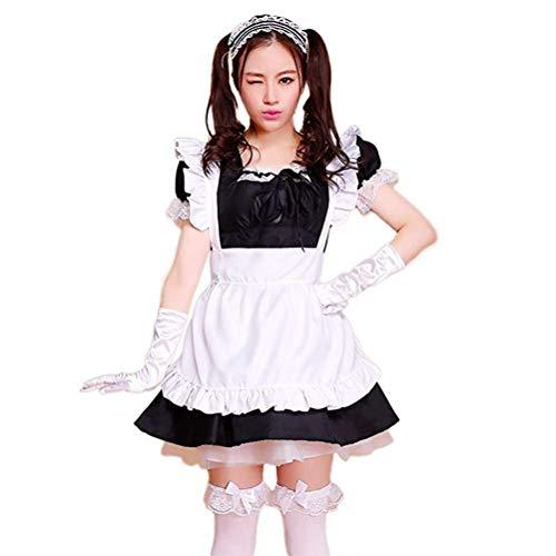 Damen French Maid Costume Dress kostüm Sexy Lolita Kleid Cosplay Uniform für Karneval Halloween,Damen Cosplay Kostuem Lolita gotische Kleider Abendkleider Partykleid(Schwarz und weiß,Größe: 3XL)