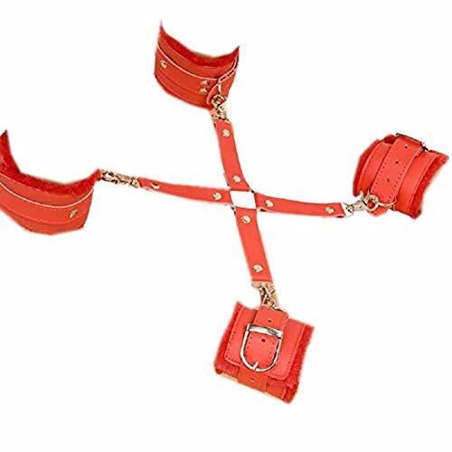 Preisvergleich Produktbild Spiele SM Spielzeug PU Leder Handgelenk & Fußfesseln Handschellen Fesseln Sklaven Bondage Kit für Frauen Männer Paare