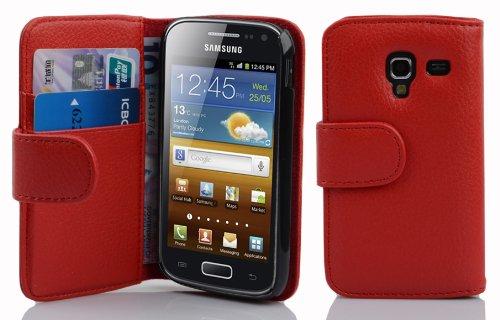 Cadorabo Hülle für Samsung Galaxy ACE 2 in Inferno ROT – Handyhülle aus Strukturiertem Kunstleder mit Standfunktion & Kartenfach – Hülle Cover Schutzhülle Etui Tasche Book Klapp Style
