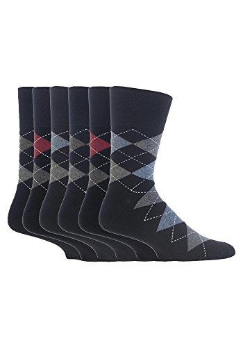Gentle Grip 6 Paar Herren SockShop Baumwolle Socken Größe 6-11 uk, 39-45 EUR Schwarz Argyle RJ39