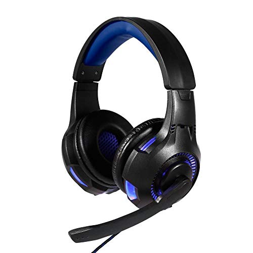 DLRBWAN Cuffie da Gioco con Microfono, chiarezza, riduzione del Rumore, Cuffia, luci LED per Giochi per Computer per PS4 / Xbox-One-Blu
