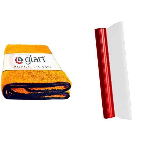 Glart 44WG Watergate super saugfähiges Mikrofaser-Trockentuch, orange, 1 Stück + Autoabzieher Silikonlippe Abzieher für Auto Lack & Scheiben nach der Autowäsche, Wasserabzieher für die Autopflege