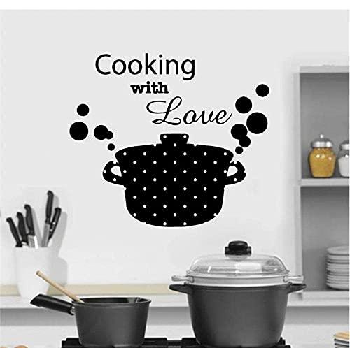 LING YUN Co,Ltd Cucina Casseruola Padella Cooking with Love Wall Stickers Vinyl Art Home Decor Decal Rimovibile Autoadesivo Murale 48X42Cm