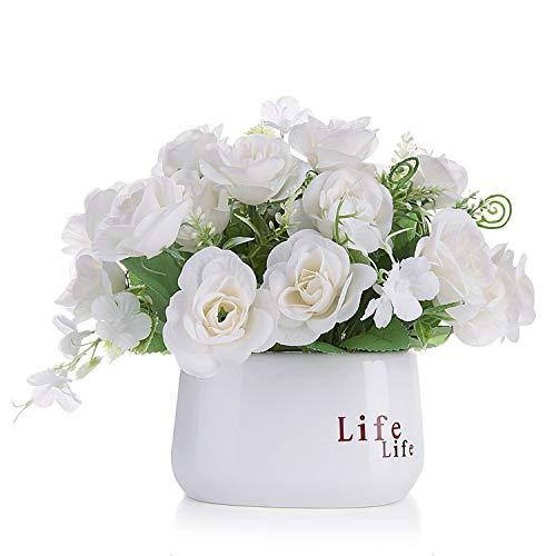 Czemo Flores Artificiales Decoración Jarrones Maceta Plásticas Flor pequeñas en Maceta para Decoración del Hogar o la Oficina Decorativa en Maceta Oficina en Casa (#2)