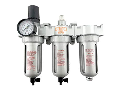 3/8' NPT Mid Flow Filter Regulator Coalescing Desiccant Dryer System For Compressed Air Lines, Poly Bowls, Great For Paint Spray And Plasma Cutter (MANUAL DRAIN)