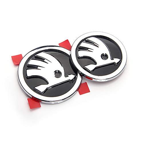 YEEXCD Auto Vorne Hinten Hinter Grille Abzeichen Emblem 3D-Metall-Aufkleber, für Skoda, Auto Körper Dekoration Logo Styling