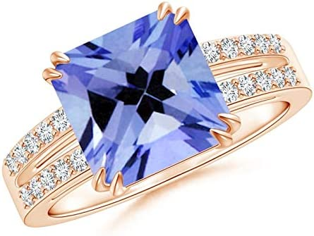 Solitaire Emerald-Cut Alternative dealer Tanzanite Split 9mm Sales of SALE items from new works Shank Ring