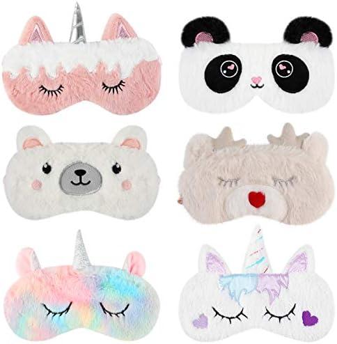Aniwon 6 Pack Kids Sleep Mask Unicorn Sleeping Mask Soft Plush Blindfold Animal Eye Cover Sleep product image