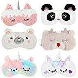 Aniwon 6 Pack Kids Sleep Mask - Unicorn Sleeping Mask Soft Plush Blindfold & Animal Eye Cover Sleep Mask for Kids