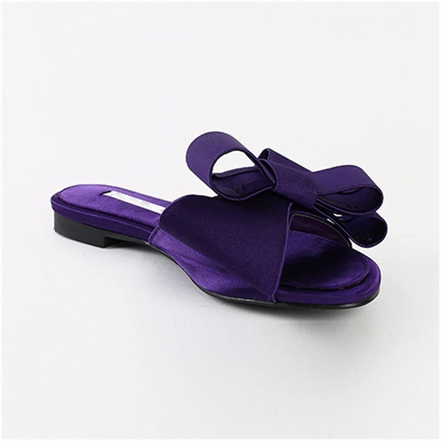 Real Silk Butterfly-Knot Slippers Woman Fashion Shoes Summer Bow Knot Slides Woman Flip Flops (Color : Purple(high 1.5cm), Shoe Size : 43)